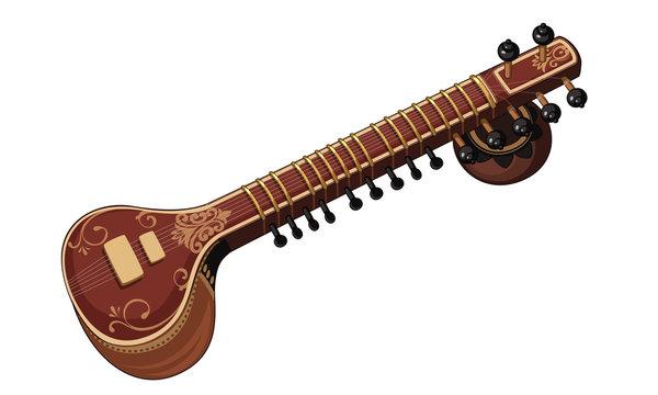 Beautiful Sitar musical instrument vector
