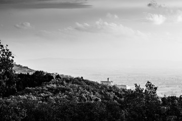 Beautiful view of Assisi town (Umbria) and St.Francis chirch in autumn from an unusual place, behind an hill with trees