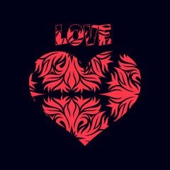 Abstract red heart, decoration for Valentine's Day, on a black background,
