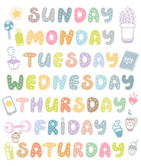 Hand drawn vector weekdays and elements for notebook, diary, calendar, schedule, sticker, bullet journal, and planner. Cute doodle days of the week set isolated on white background.