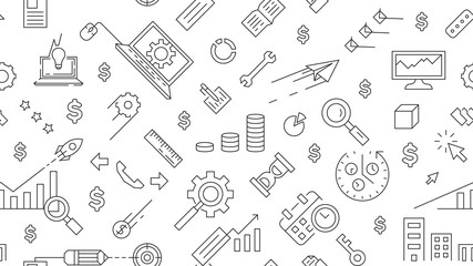 landscape pattern with business theme, background about business with doodle style, business line design