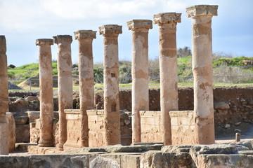 Side-Lit Ancient Colonnade, Paphos, Cyprus