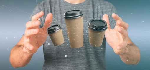 Group of cardbox coffee cup with connection 3d rendering