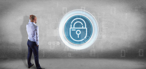 Businessman in front of a wall with Security padlock wheel icon with stats and binary code 3d rendering