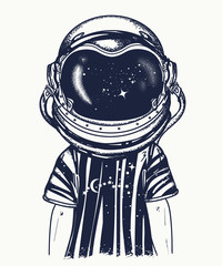 Boy in the astronaut helmet. Tattoo and t-shirt design. Symbol of imagination, education, inspiration. Childhood dreams of future