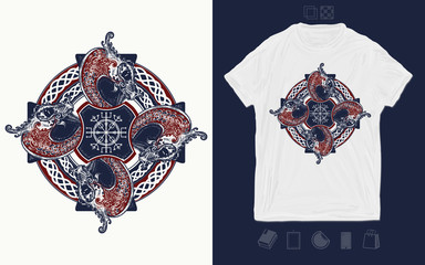 Celtic cross. Helm of Awe, aegishjalmur, celtic trinity knot. Print for t-shirts and another, trendy apparel design. Dragons, symbol of the Viking. Nordic ethnic style graphics