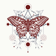 Esoteric magic butterfly geometrical style tattoo. Beautiful Swallowtail boho t-shirt design. Mystical esoteric symbol of freedom, travel, tourism