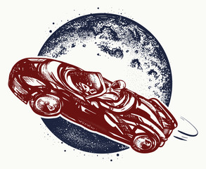 Car in space tattoo and t-shirt design. Symbol of science, travel to Mars, future technologies, dream, imagination