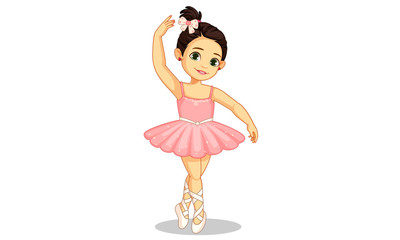 Beautiful little ballerina in ballet pose 2