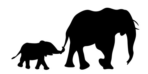 Silhouette of elephant with baby elephant vector illustration
