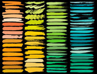 Big set of colorful brush strokes, Colorful ink grunge brush strokes. Vector illustration.