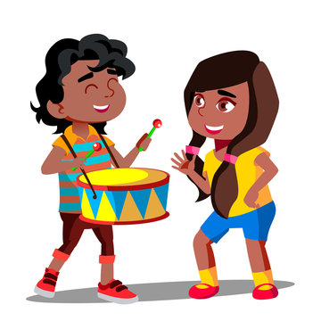 Afro American Boy Playing Drum Next To Dancing Afro American Girl Vector. Isolated Illustration