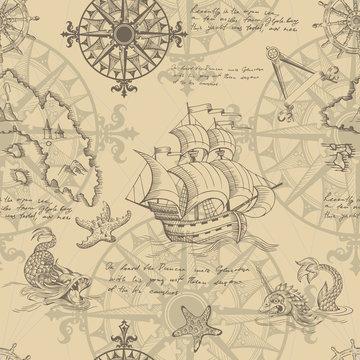 Old caravel, vintage sailboat, sea monster. Vector seamless pattern