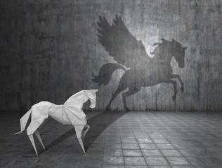 Fototapeta Concept of hidden potential. A paper figure of a horse that fills the shadow of a pegasus. 3D illustration obraz