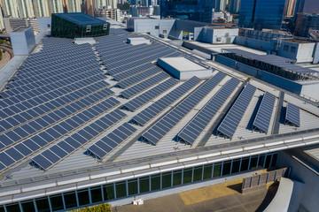 Obraz Roof top with solar power panel plant - fototapety do salonu