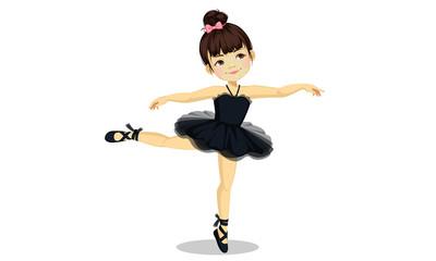 Cute little ballerina girl in black tutu dress 3