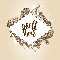 Background with Ink hand drawn meat products and grilled dishes. Food elements collection. Vector illustration with brush calligraphy style lettering.
