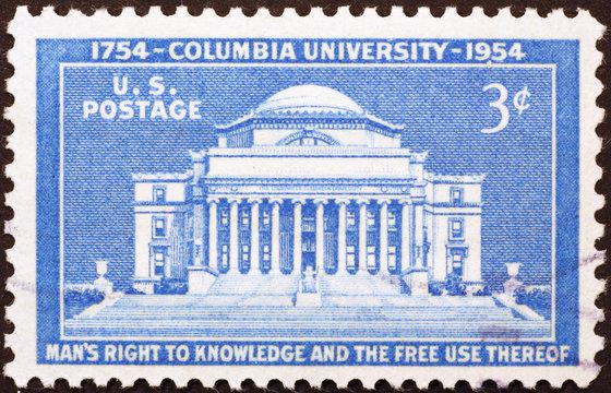 Columbia University on old US postage stamp