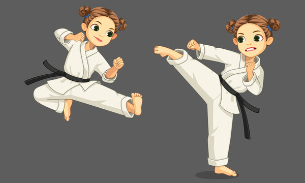 Cute little karate girl in karate pose