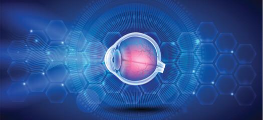 Human eye anatomy on a blue scientific background
