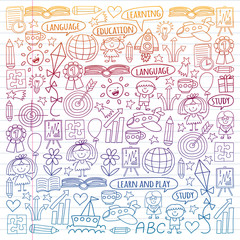 Vector set of learning English language, children's drawingicons in doodle style. Painted, colorful, gradient on a piece of linear paper on white background.