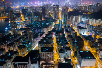 Top view of Hong Kong residential district at night
