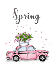 Taxi and a bouquet of tulips. Vector illustration for greeting card or poster. Spring flowers.