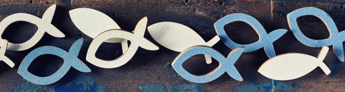 Set of cut out Christian religion fish symbols
