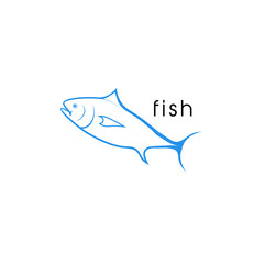 Fish Line Style Vector.
