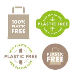 Plastic Free Life. Collection of Green Healthy Organic Eco Label Stamp Badge. Paper Bag Recycle Concept.