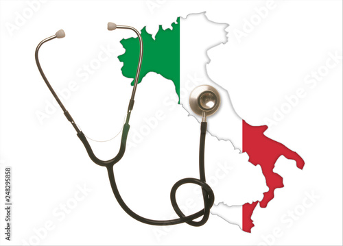 stethoscope auscultates the italy  diagnosis concept country  isolated on  white background with copy space