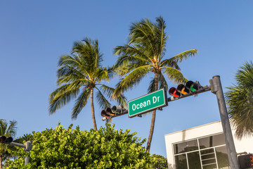 Street sign of Ocean Drive in Miami South Beach