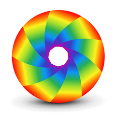Symbol 3D, abstract lens design and rainbow colors vector shutter.