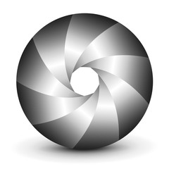 Symbol 3D, abstract lens design and vector shutter.