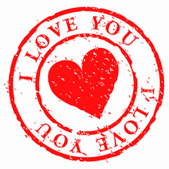 Love stamp, heart with words I love you