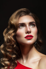 Portrait of a woman with red lips close-up