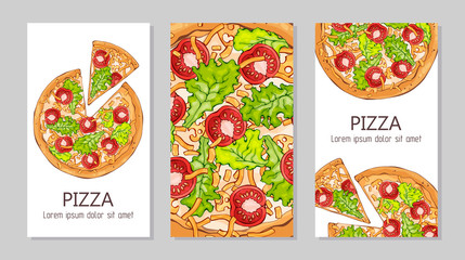 Vector colorful illustrations on the pizza theme; pizzas from different recipes. Template for advertising products. Cards for your design.