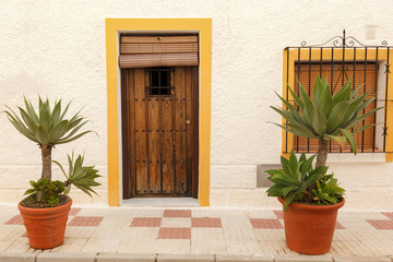 Flowerpots in Front of Old House in Estepona Andalusia Spain