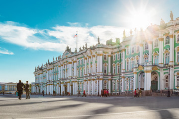 Hermitage palace in Saint Petersburg, Russia. St Petersburg landmark and old architecture at Palace square. Hermitage is most famous museum in Saint Petersburg.