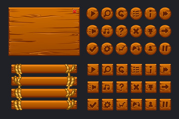 Vector game ui big kit. Template wooden menu of graphical user interface GUI and buttons to build 2D games.