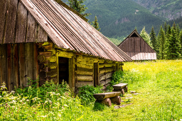 Old wooden cottages in Tatras Mountains, Poland