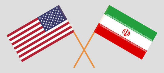 USA and Iran. The United States of America and Iranian flags. Official colors. Correct proportion. Vector