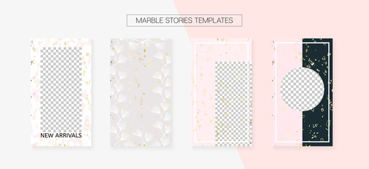 Stories Template Cool SMM Vector Layout. Social Media Blogger Cards Set. Textured Apps Design Pack. Minimal App Kit, Pink White Gold Rich VIP Geometric Marble Patterns. Stories Template VIP Layout.