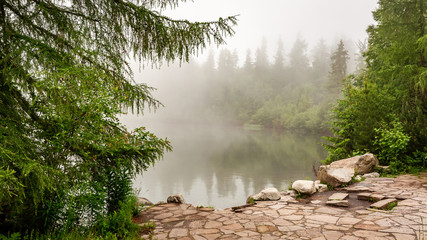 Strbske Pleso lake in foggy day in Tatra Mountains, Slovakia