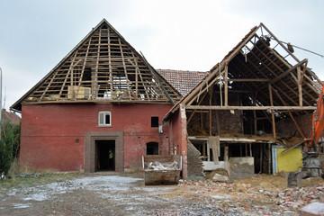 Abbruch eines Bauernhauses