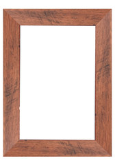 Wooden picture frame isolated on white background.