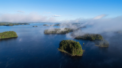 Beautiful islands on the lake. Very low cloud cover.