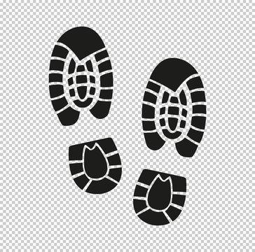Shoe print -  black vector icon