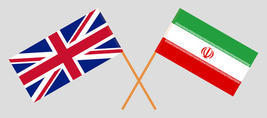 Iran and UK. The Iranian and British flags. Official colors. Correct proportion. Vector