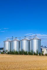 four silver silos in the field after the harvest